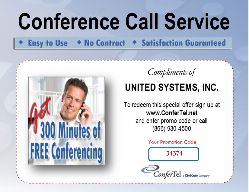 Conference call service coupon for 300 minutes free conferencing